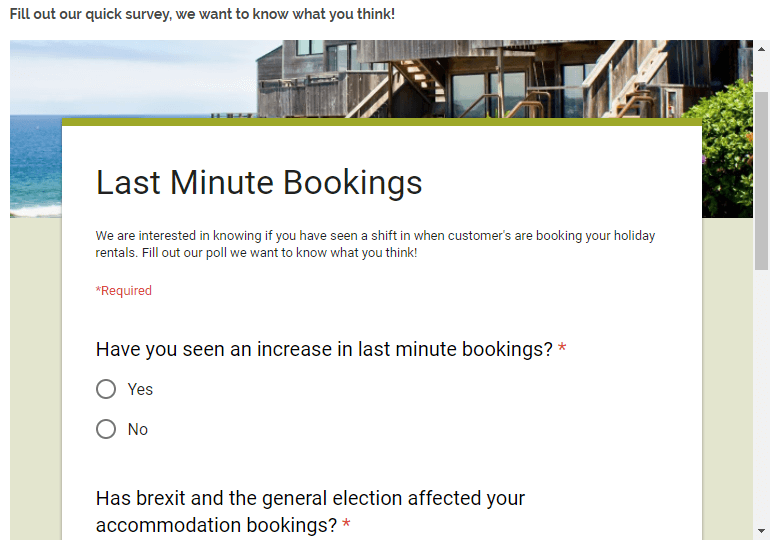 last minute bookings survey