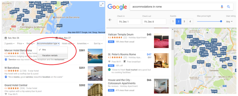 Google testing vacation rentals